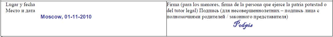 пример заполнения анкеты на визу Испания