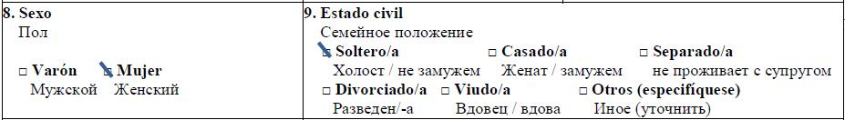 Образец заполнения анкеты на испанскую визу